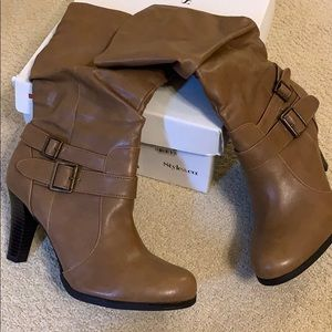 Mid Calf high healed boot